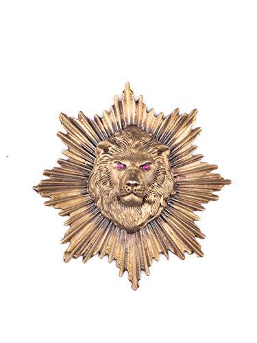 Vatslacreations Broche Lion Power, broche de león y gemelos, pin de solapa con temática de animales, broche de león de oro antiguo, broche de metal, broche de latón, gemelos de león de metal