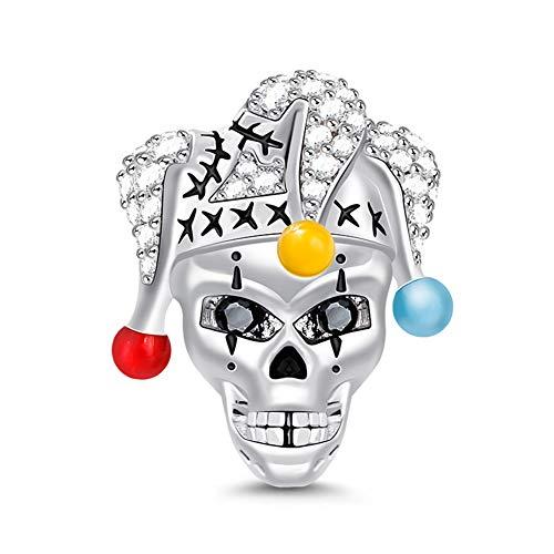 Gnoce 925 Silber Herren Damen charm Clown Schädel mit Clown Hut Charm Anhänger fit Armbänder Halskette Halloween Geschenk für Frauen Kinder und Mädchen