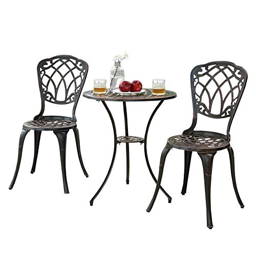 Trueshoppping Cast Aluminium Outdoor Bistro Dining Set of 2 Chairs & Round...