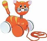 Unbekannt Ziehtier / Ziehfigur / Nachziehtier - Katze Tier Holzfigur - aus Holz BUNT Wackeltier - für Kinder Mädchen & Jungen - Nachziehfigur / Hinterherziehen Hinterhe