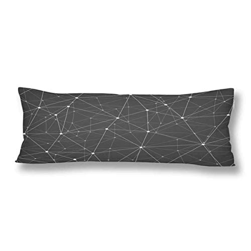 CiCiDi Body Pillow Case 5ft(50cm X 150cm) Grayscale Geometric Connection Soft Cotton Machine Washable with Zippers Maternity/Pregnancy Pillow Cover