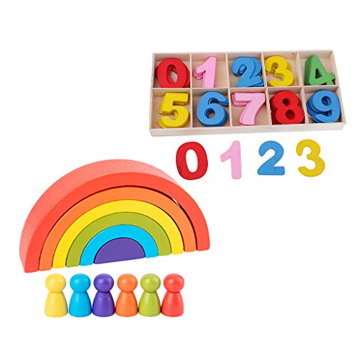 HomeDecTime Wooden Rainbow Stacking Blocks, Fun Building Blocks and Arabic Numbers Toys for Kids Toddlers