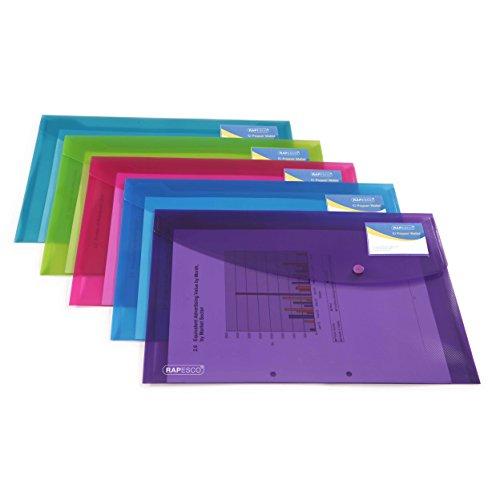 RAPESCO 0700 Sammelmappe mit Druckknopf und Visitenkartenhülle A4+ - Verschiedene Transparente Farben, 5 Stück