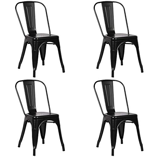 WV LeisureMaster Juego de 4 sillas de metal apilables de metal estilo vintage industrial; apto para uso en interiores y exteriores, silla de jardín de cocina, premontada (negro)