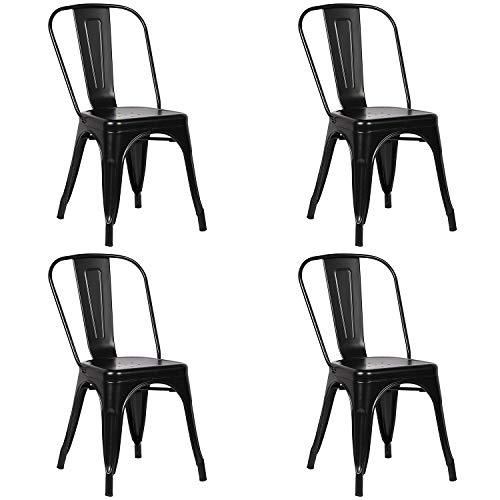 WV LeisureMaster Juego de 4 sillas de comedor de metal apilables sillas de estilo industrial vintage; para uso en interiores y exteriores, silla de oficina, cocina, jardín, premontada