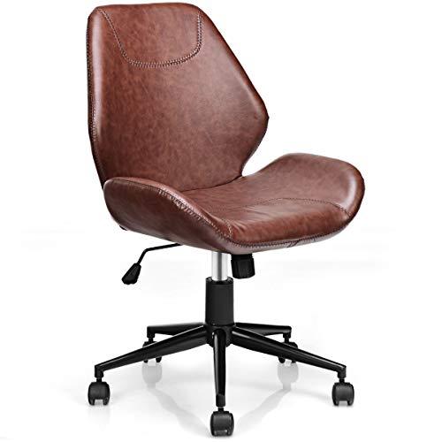 COSTWAY Bürostuhl höhenverstellbar, Schreibtischstuhl aus PU, Chefsessel drehbar, Drehstuhl mit Rückenlehne, Computertischstuhl mit 5 Rollen, braun