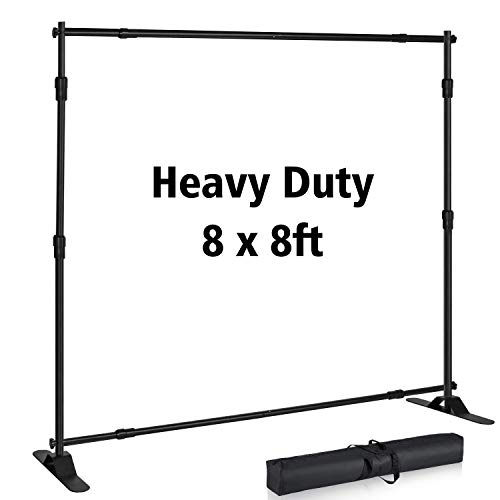 T-SIGN 8x8 ft Backdrop Banner Stand Large Heavy Duty Professional Telescopic Step and Repeat, Trade Show Photo Booth Background, Carry Bag
