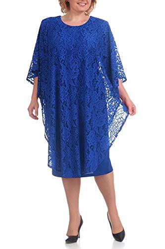 MisShow Damen Chiffon Brautmutterkleider A-Linie Cocktailkleid Ballkleid Chiffon Übergröße Festlichkleider Royalblau 20W