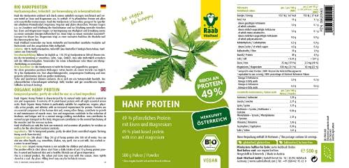 Raab Vitalfood Bio Hanfproteinpulver, 1er Pack (1 x 500 g) – Bio - 3