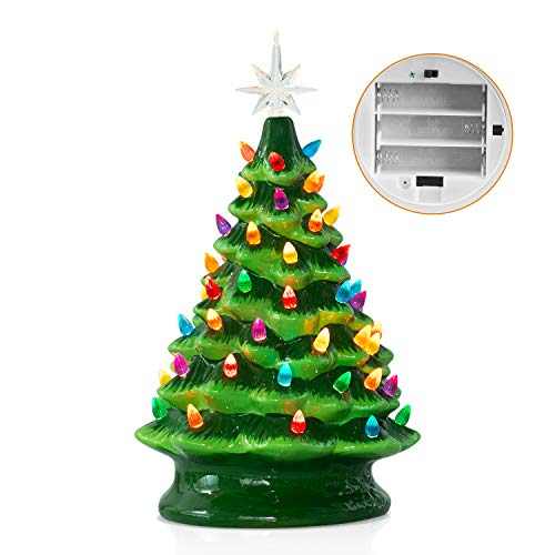 Ceramic Christmas Tree with Multicolored Lights 15 Inch Tabletop Halloween Holiday Decoration Lighted Vintage Ceramic Tree with Star Topper Tree Green