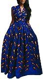 OLIPHEE Mujer Vestido Africano Floral Falda Multifuncional Fiestas Elegante Larga Naranja Plumas-1