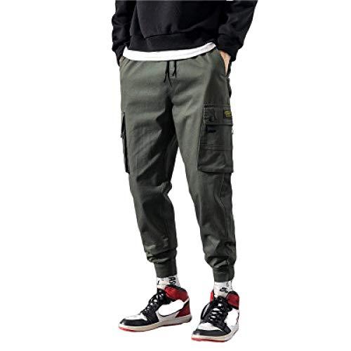 Pantalones Cargo de Color sólido para Hombre, Bolsillo con Costuras, Informal, de Gran tamaño,...