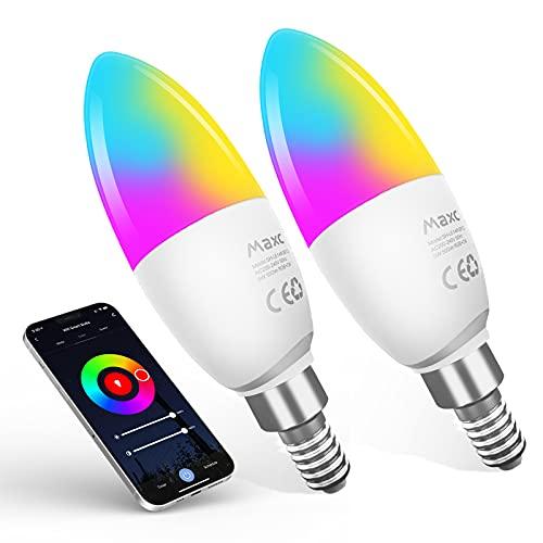 Lampadina LED Inteligente WiFi E14,Maxcio Lampadine Smart LED 5W=40W,Dimmerabile RGB Colore Cambiano Lampadina 2700-6500K Bianco Freddo Caldo,Funzione con Alexa/Google Home,Nessun Hub Richiesto 2Pcs