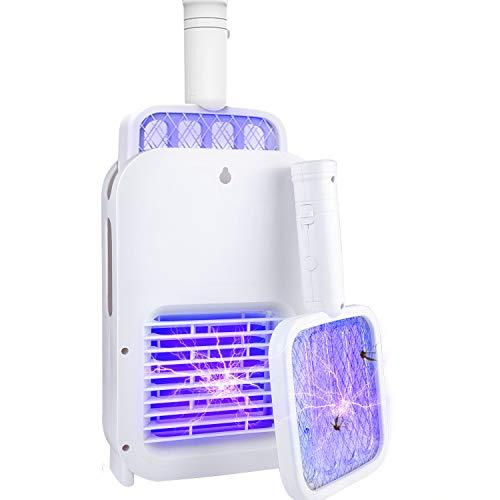 Raqueta Mosquitos Eléctrico, 2 en 1 Lámpara Antimosquitos Electrico USB Recargable, Electric Mosquito Killer LED para deshacerse de trampas de Mariposas, Moscas y Otros Insectos voladores
