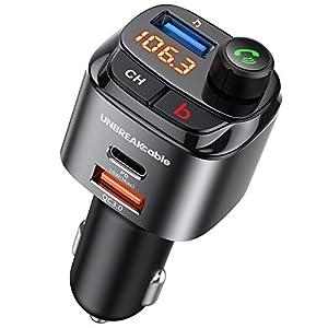 UNBREAKcable Transmisor FM Bluetooth 5.0 - Cargador de Coche con Tres USB Puerto de Carga (PD3.0 y QC3.0),Reproductor MP3 Mechero Coche, Adaptador de Radio Soporte U Disk,Llamadas Manos Libres