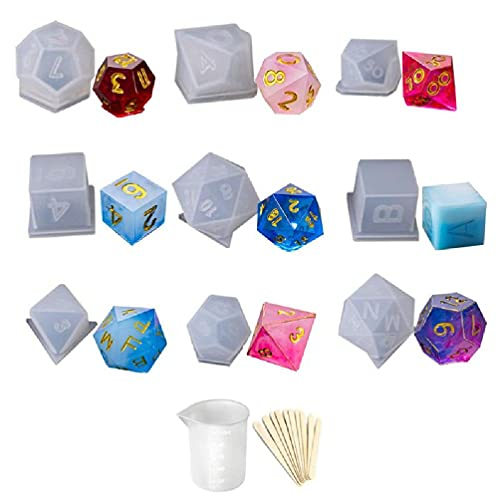 YAOYAN DIY Crystal Epoxy Mold Dice Fillet Shape Multi-spec Digital Game Silicone Mould epoxy resin molds