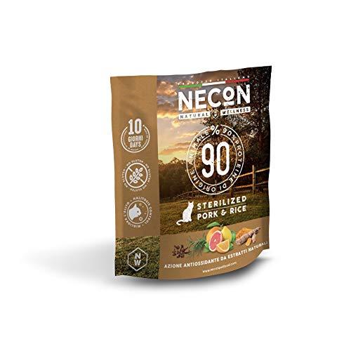 Necon Pet Food Natural Wellness Sterilizzato Maiale & Riso 400 g, Cibo per Gatti Sterilizzati, Crocchette Low Grain ricche di Vitamine, qualità Super Premium, Made in Italy