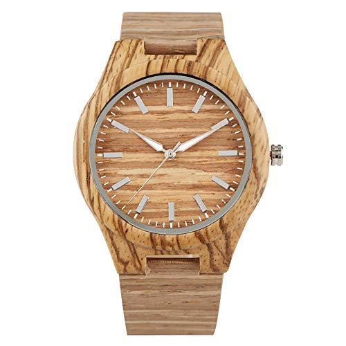 Elegante reloj de cuarzo de madera para hombres, esfera marrón clásica con punteros relojes de madera para niños, práctico reloj de pulsera de madera para marido