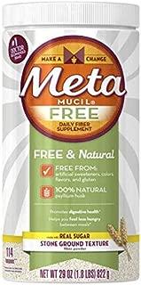 Meta Mucil Free Daily Fiber Supplement Powder Stone Ground Texture - 29 oz, Pack of 4