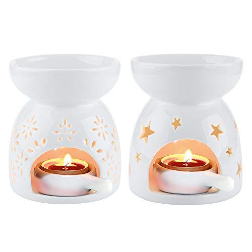 ComSaf Duftlampe Keramik Weiß mit Kerzenhalter 2er-Set - Sternenmuster und Blumenmuster