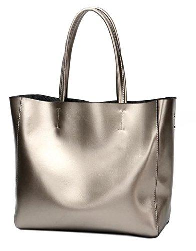Covelin Women's Handbag Genuine Soft Leather Tote Shoulder Bag Hot Silver