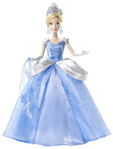 Mattel W5567 - Disney Princess Ballzauber Prinzessin Cinderella, inklusive Glitzer-Accessoires und Glasschuhe