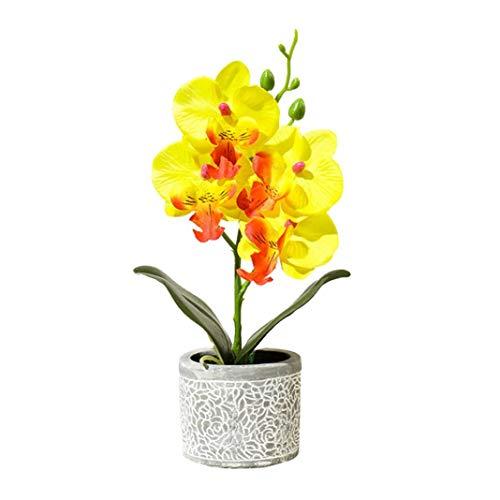 EDQZ K¨¹nstliche Blumendekor,1 St¨¹ck K¨¹nstliche Blume Schmetterling Orchidee Zement Topf Bonsai Hausgarten Party Decor - gelb