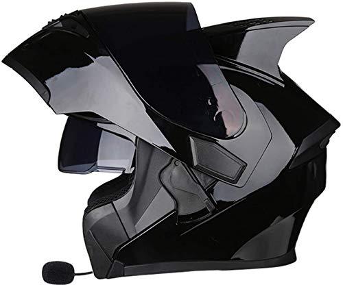 XWW Casco abatible para Motocicleta, Cascos integrales modulares de Doble Visor con Bluetooth, Casco con Cuernos Aprobado por Dot/ECE, Casco de Motocicleta con Bluetooth Integrado ⭐