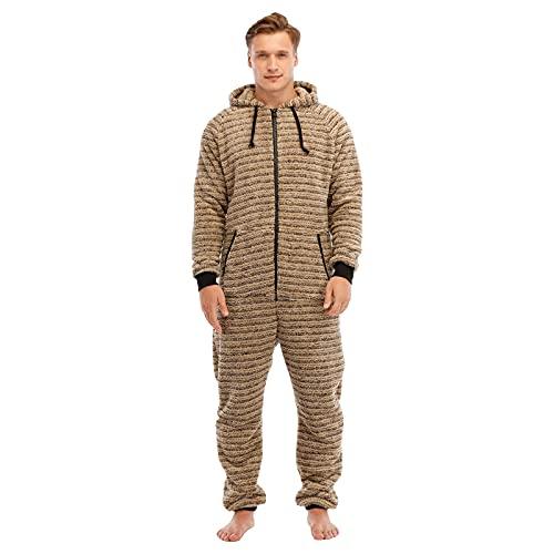 BIBOKAOKE Herren Jumpsuit Schlafanzug Warm Winter Pyjama Einteiler Overall mit Kapuze und Reißverschluss Strampler Freizeitanzug Nachtwäsche Strampler Thermounterwäsche Jumpsuit