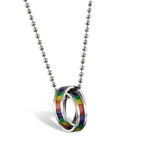 Flongo Gay Pride Schwul LGBT Anhänger Halskette, Edelstahl Kette Silber Mehrfarbig Bunt Regenbogen Streifen LGBT Lesbe Gay Pride Schwul Homosexuell Ring Doppelte Ringe Herren, Damen