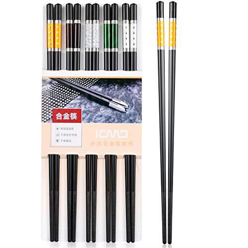 Hopewey 5 pares de palillos japoneses negros Chopsticks chinos de metal, antideslizantes, para restaurantes, reutilizables, lavables, para fregadero de vajilla.