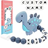 Panny & Mody Pacifier Clip Personalized Name, Dinosaur Teether Pain Relief Toy with Customized Pacifier Clip Holder Set for Newborn Babies Shower Gift (Grey)