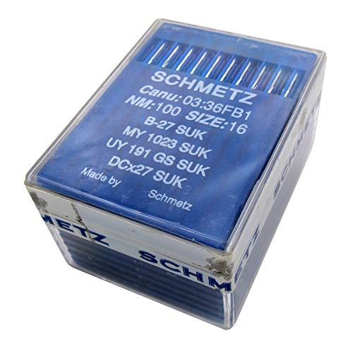 SCHMETZ -Aguja en caja de plástico transparente CKPSMS,100 PZAS Schmetz B-27 DCX27 UY191GS, compatible con JUKI MO,Mor, MOC, MOF Class Pegasus E32 E52 OVERLOCKER costura (tamaño de la aguja:16/100)