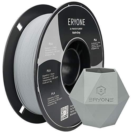 Filamento PLA mate ERYONE para impresora 3D, 1,75 mm, tolerancia: ± 0,03 mm, 1 kg (2,2 libras) / rollo, Gris