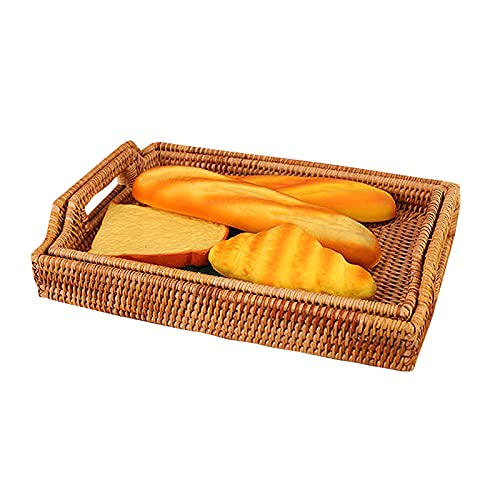 Basket Trays Food Tray with Handles Wooden Handwoven Rattan Hand Woven Breakfast Trays for Coffee Table Wicker Serving Tray Natural Tea Large Decorative Tray Bamboo Bread Fruits Storage,2pcs