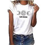Blusa para mujer, elegante, blanca, para verano, con estampado de...