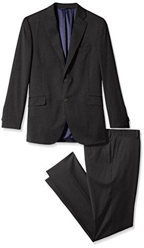 NSBS Mens 3 Piece Classic Tweed Herringbone Check Tan Slim Fit Vintage Suit (L), Blue