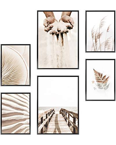 Heimlich Cuadros Decorativos - SIN Marcos -Decoración Colgante para Paredes de Sala, Dormitorios y Cocina - Arte Mural - 2 x A3 & 4 x A4-30x42 & 21x30 | » Beige Sand Gras «