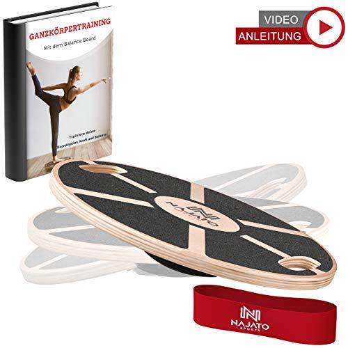 NAJATO Sports Balance Board aus Holz – Wackelbrett mit rutschfestem gummiertem Standfuß – Therapiekreisel mit Handgriffen für mehr Übungsmöglichkeiten