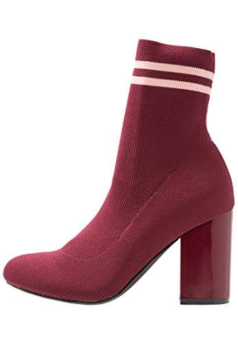 Even&Odd Botas de Tela para Mujer – Botines de Tacón – Ankle Boots, Rojo Burdeos en Talla 36