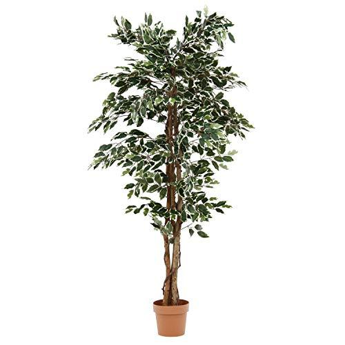 人工観葉植物 フィカス ゴムの木 フェイクグリーン インテリアグリーン 造花 観葉植物 鉢植え 人工 フェイク グリーン (Bタイプ, 160cm)