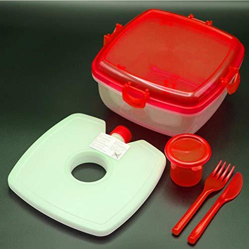 HAC24 Lunchbox-Set Salat-to-Go | Frischhalte-Box mit Kühlakku und Besteck | Salatschüssel Salatcup Kunststoff (Rot)