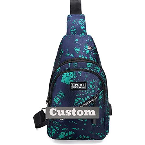 Nombre personalizado Hombres Cofre Crossbody Bolso de hombro juventud Sling con caminata usb Daypack Pequeño Ligero (Color : K2, Size : One size)