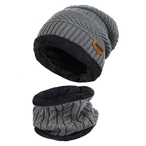 Vbiger Wintermütze Strickmütze Warme Beanie Winter Mütze & Schal mit Fleecefutter für Damen & Herren,Grau,Einheitsgröße