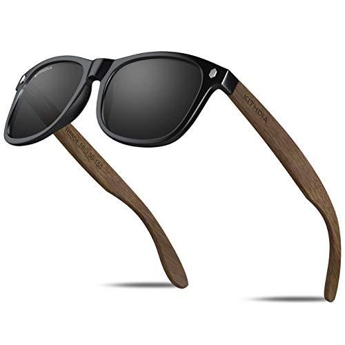 KITHDIA Occhiali da sole in legno Polarizzati Classici in Legno per Uomo Donna Protezione UV400 K5504