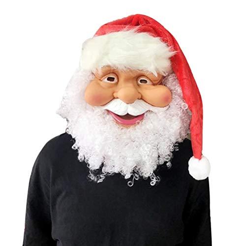 Kylewo Kerstman Volledige Gezicht Masker, Kerstman Masker Volledige Gezicht Bedekte Party Masker Kerst Kostuum Accessoire Feestbenodigdheden