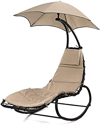 CozyBox Hammock Chair Stand Outdoor Patio Furniture, Outdoor Swings, Patio Lounge Chair Outdoor Hanging Chair Outdoor Lounger Free Standing Hammock Yard Chair (Rocker 2.0 Khaki)