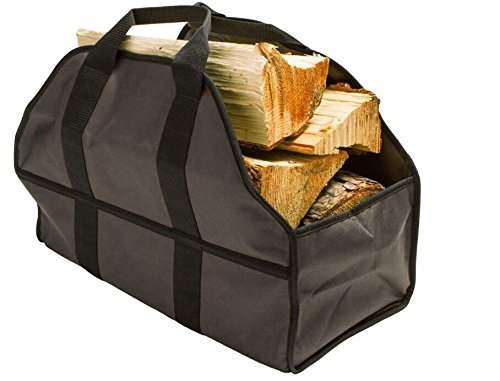 Egooz Large Firewood Log Carrier Durable Canvas Tote Bag for Carrying Wood  Simple Easy use Close End  keeps mess inside the carrier 24quotX12quotX10quotKhaki