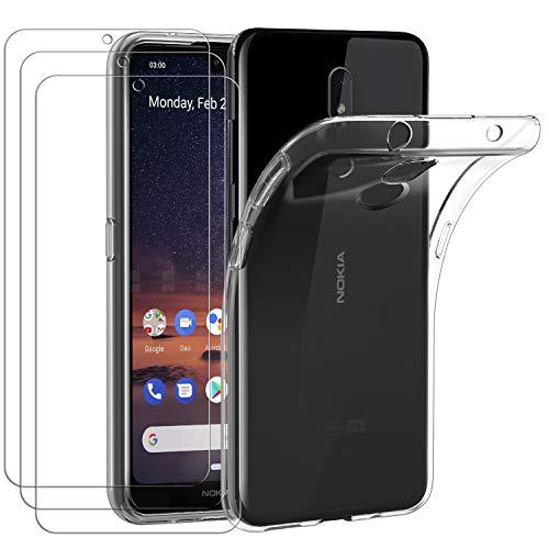 ivoler Hülle für Nokia 3.2 + [3 Stück] Panzerglas, Durchsichtig Handyhülle Transparent Silikon TPU Schutzhülle Case Cover Premium 9H Hartglas Schutzfolie Glas für Nokia 3.2