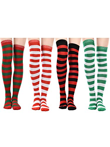 Jovitec 4 Pairs Long Striped Socks Knitted Knee Thigh High Socks for St. Patrick's Day and Daily Wear (Multicoloured B)